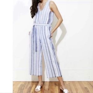 Cloth And Stone Frayed Striped Jumpsuit Blue Small